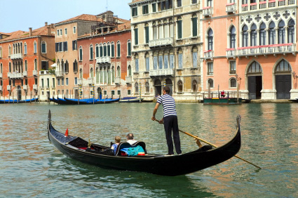 venice gondolier in grand canal